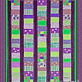 Coin Quilt - Quilt Painting - Purple And Green Patches by Barbara Griffin