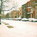 Cold Day In Montreal Pointe St Charles Art Winter Cityscene Painting After Big Snowfall Psc Cspandau by Carole Spandau
