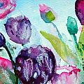 Collecting Pink And Purple Tulips by Ashleigh Dyan Bayer