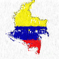 Colombia Painted Flag Map by Antony McAulay
