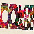 Colorado Typographic Watercolor Map by Inspirowl Design