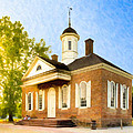 Colonial Courthouse In Old Williamsburg by Mark E Tisdale