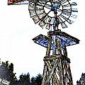 Color Drawing Antique Windmill 3005.05 by M K Miller
