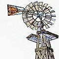 Color Drawing Of Old Windmill 3009.04 by M K Miller