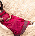 Color Portrait Young Pregnant Spanish Woman Reclining by Sally Rockefeller
