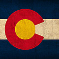 Colorado State Flag Art on Worn Canvas by Design Turnpike