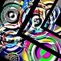 Colored Lines And Circles Art Over Black by Mario Perez
