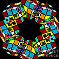 Colorful Abstract Rubiks Cube Wreath by Beverly Claire Kaiya