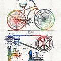 Colorful Bike Art - Vintage Patent - By Sharon Cummings by Sharon Cummings