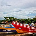 Colorful Boats And Lighthouse by Jonas Clark