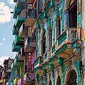 Colorful Buildings In Havana by Les Palenik