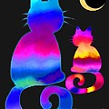 Colorful Cats And The Moon by Nick Gustafson