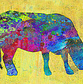 Colorful Cow Abstract Art by Ann Powell