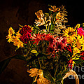 Colorful Cut Flowers In A Vase by Les Palenik