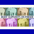Pastel Elephants On Parade by Marian Cates