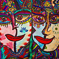 Colorful Faces Gazing - Ink Abstract Faces by Marie Jamieson