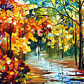Colorful Forest - Palette Knife Oil Painting On Canvas By Leonid Afremov by Leonid Afremov