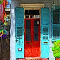 Colorful French Quarter Door  by Rebecca Korpita