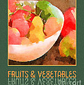 Colorful Fruits And Vegetables Digital Watercolor  by Beverly Claire Kaiya