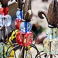 Colorful Glass And Metal Garden Ornaments by Cynthia Woods