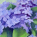 Colorful Hydrangeas Original Purple Floral Art Painting Garden Flower Floral Artist K. Joann Russell by K Joann Russell