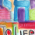 Colorful Life- Abstract Jewish Greeting Card by Linda Woods