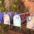 Colorful Mailboxes Santa Fe Painterly Effect by Carol Leigh