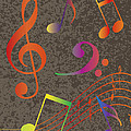 Colorful Musical Notes On Textured Background Illustration by Jit Lim