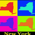 Colorful New York State Pop Art Map by Keith Webber Jr