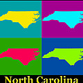 Colorful North Carolina Pop Art Map by Keith Webber Jr