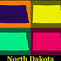 Colorful North Dakota Pop Art Map by Keith Webber Jr