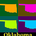 Colorful Oklahoma State Pop Art Map by Keith Webber Jr