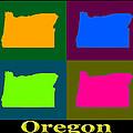 Colorful Oregon Pop Art Map by Keith Webber Jr