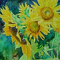 Colorful Original Sunflowers Flower Garden Art Artist K. Joann Russell by K Joann Russell