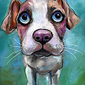 Colorful Pit Bull Puppy With Blue Eyes Painting  by Svetlana Novikova