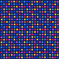 Colorful Polka Dots On Dark Blue Fabric Background by Keith Webber Jr