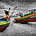Colorful Retro Ship Boats On The Beach by Michal Bednarek