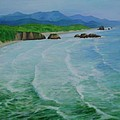 Colorful Seascape Oregon Cannon Beach Ecola Landscape Art Painting by K Joann Russell