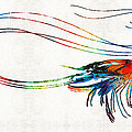 Colorful Shrimp Art By Sharon Cummings by Sharon Cummings