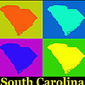Colorful South Carolina Pop Art Map by Keith Webber Jr