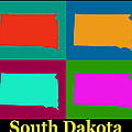 Colorful South Dakota Pop Art Map by Keith Webber Jr
