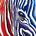 Colorful Stripes Original Zebra Painting By Madart by Megan Duncanson