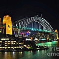 Colorful Sydney Harbour Bridge By Night 3 by Kaye Menner