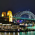 Colorful Sydney Harbour Bridge By Night by Kaye Menner