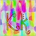 Colorful Texturized Alphabet Kk by Barbara Griffin