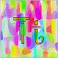 Colorful Texturized Alphabet Tt by Barbara Griffin