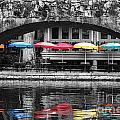 Colorful Umbrellas Reflected In Riverwalk Under Foot Bridge San Antonio Texas Color Splash Digital by Shawn O'Brien