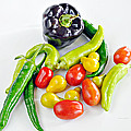 Colorful Veggies On White by Kenny Francis