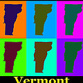 Colorful Vermont Pop Art Map by Keith Webber Jr
