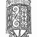 Colorful Vibrant Red Green Gothic Sconce Light Black And White Stamp Digital Art by Shawn O'Brien